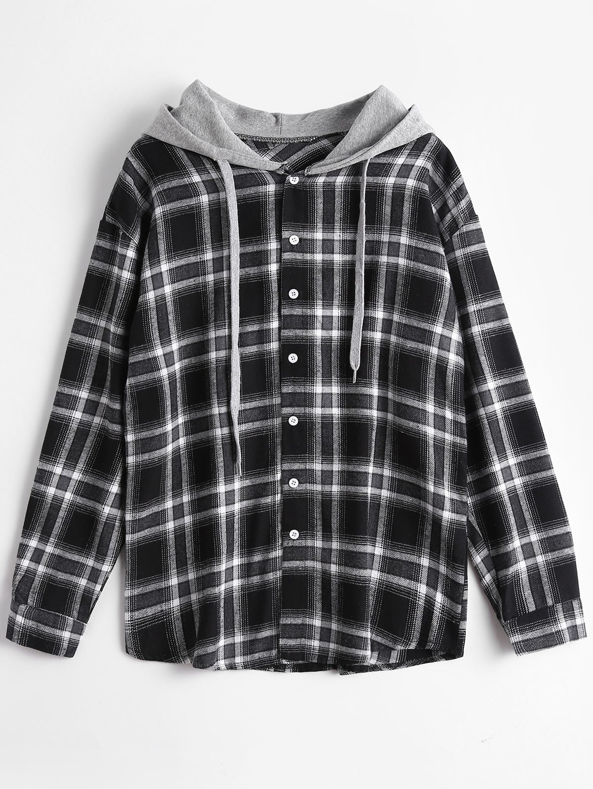 Button Up Checked Drawstring Hoodie