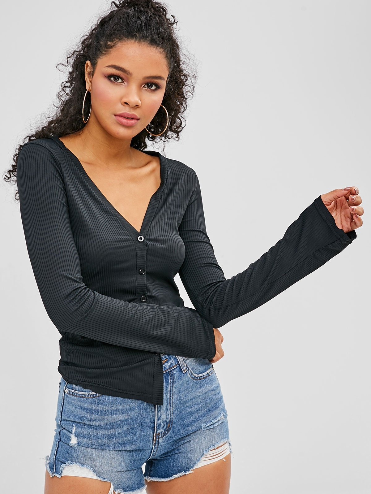 Button Up Ribbed T-shirt