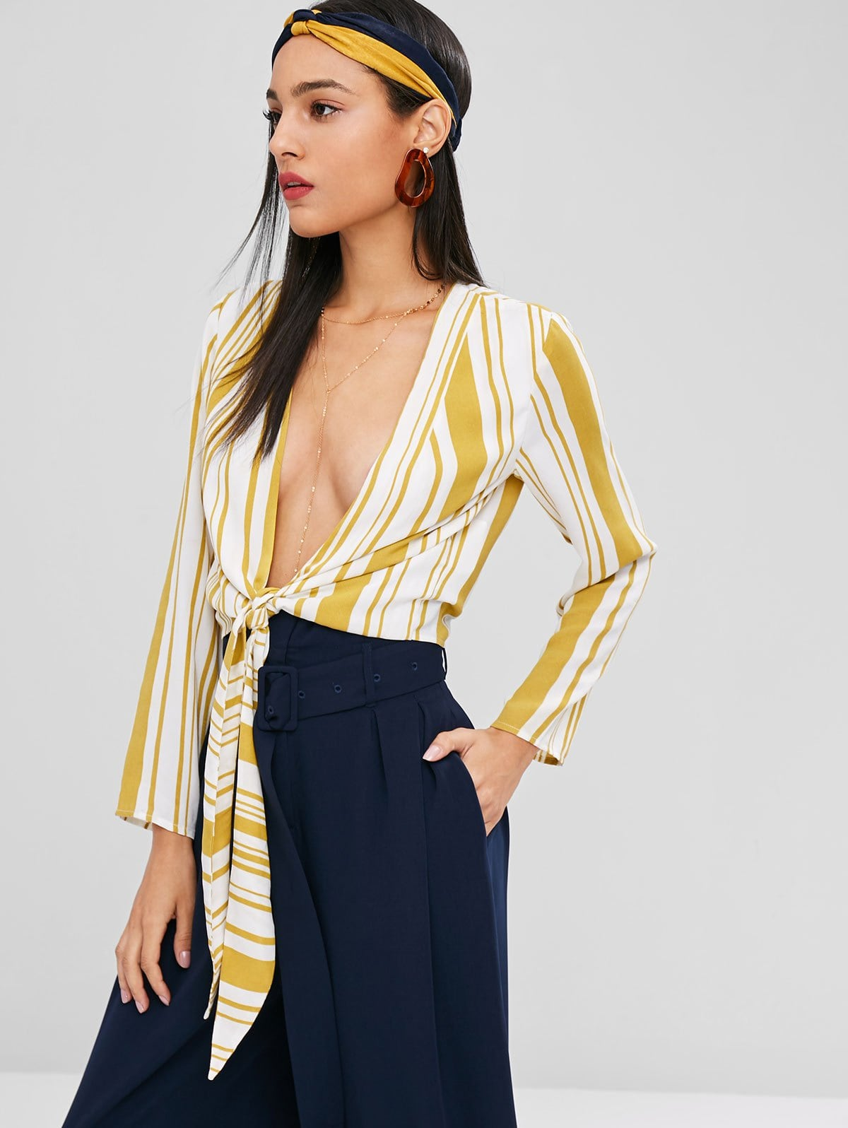 Plunging Stripe Knot Blouse