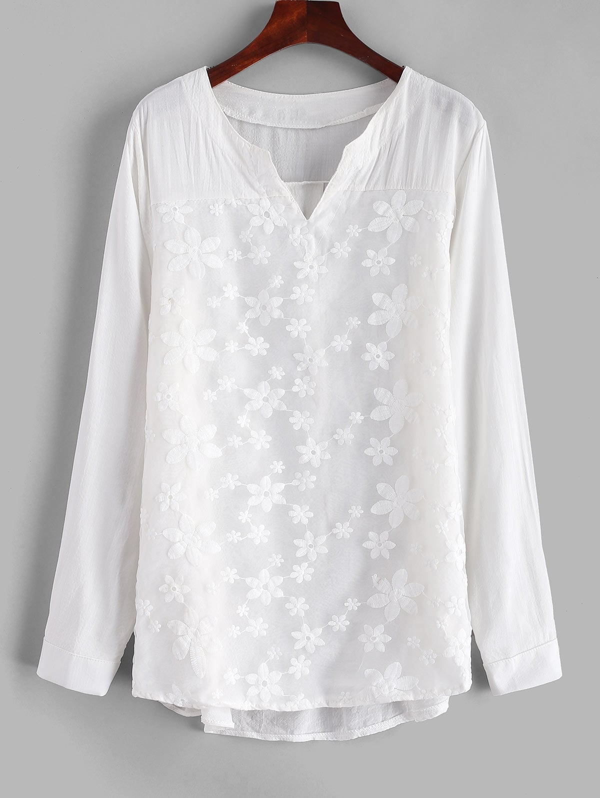 Voile Panel High Low Blouse