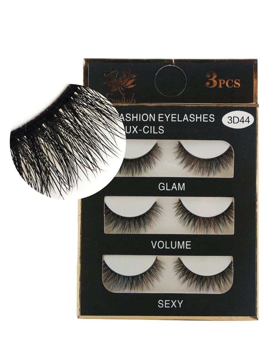3Pcs Natural Effect Volumizing Makeup Fake Eyelashes
