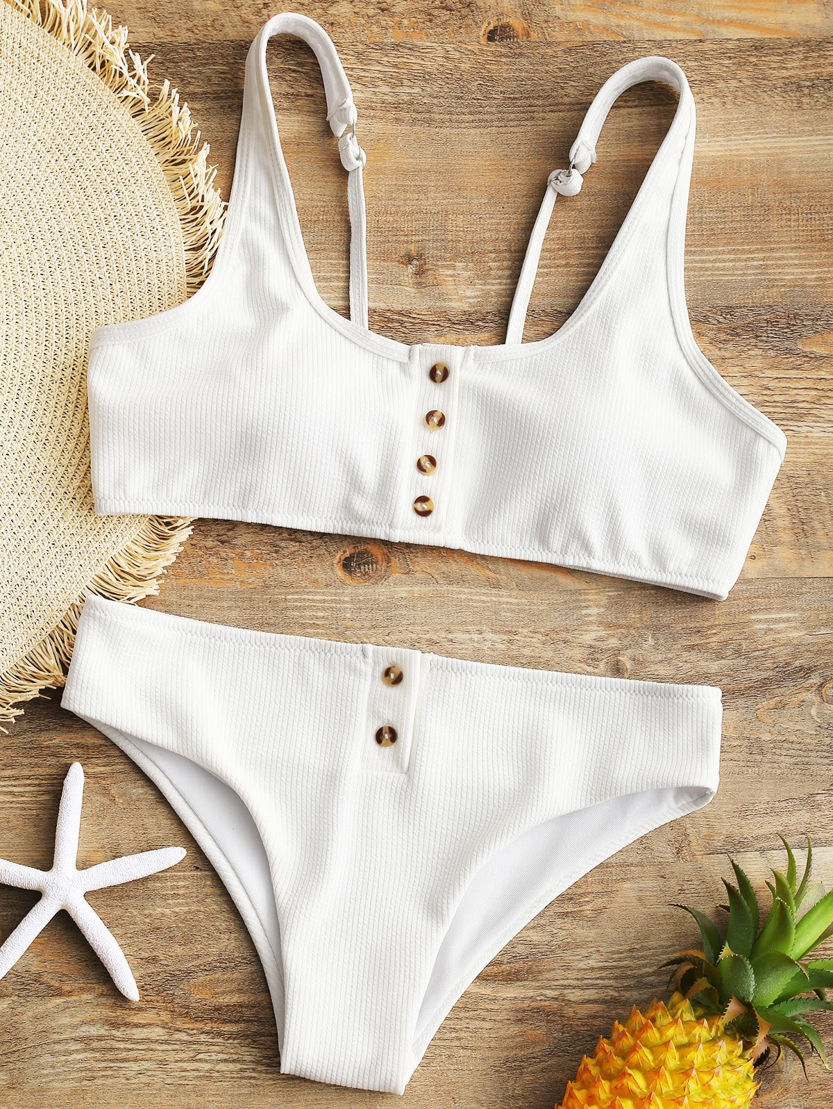 Padded Ribbed Texture Buttons Bikini Set