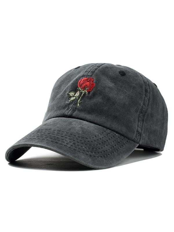 Embroidered Rose Baseball Cap