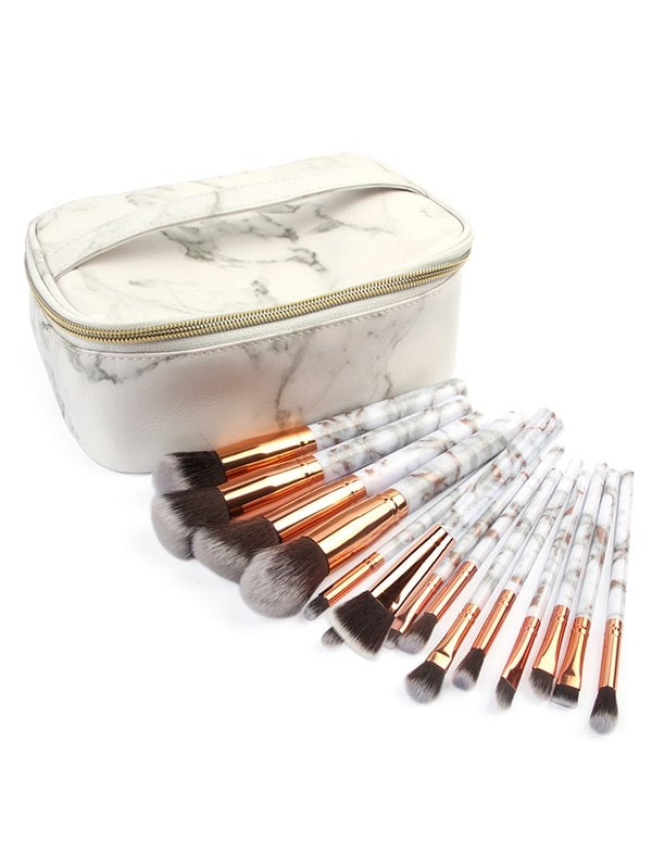15 Pcs Marble Handles Cosmetic Brush Collection with Bag