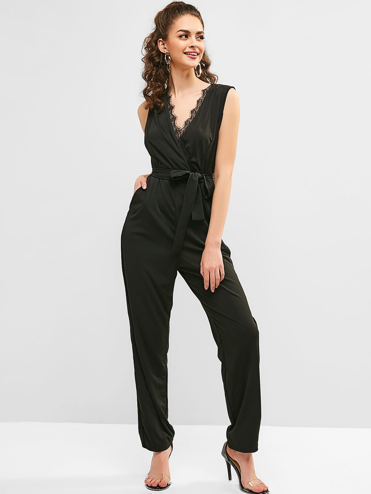 Lace Insert Plunging Belted Jumpsuit