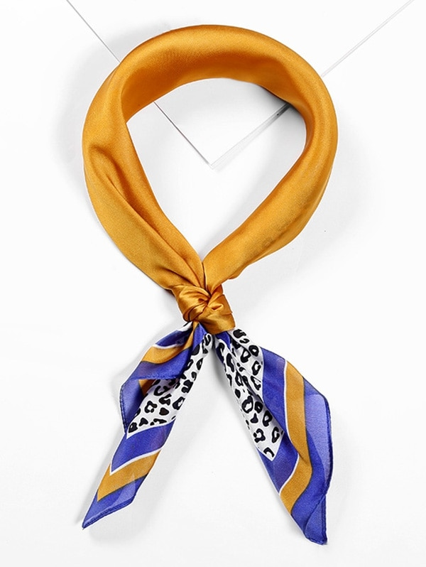 Leopard Printed Satin Neckerchief Square Scarf
