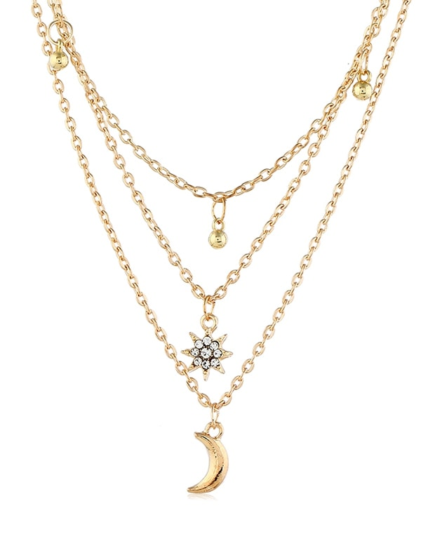 Multilayered Moon Star Chain Necklace