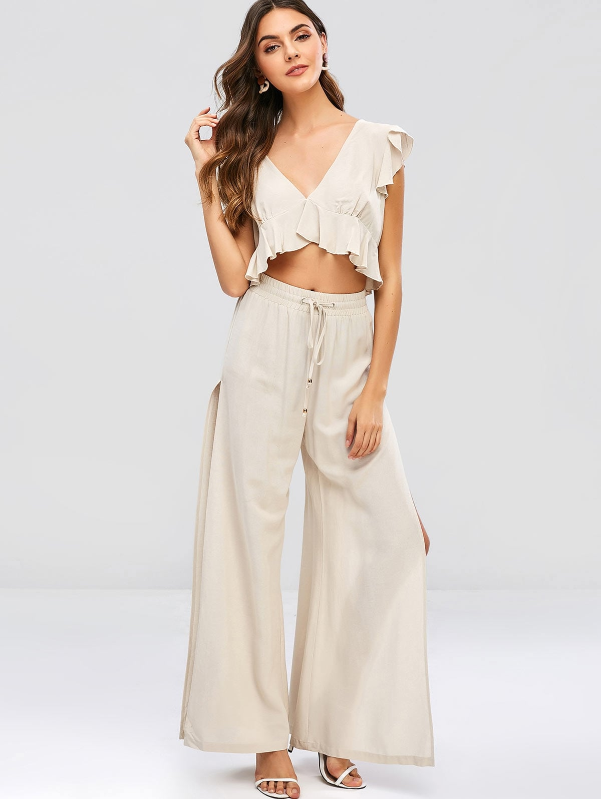 Ruffles Cropped Top And Slit Pants Set