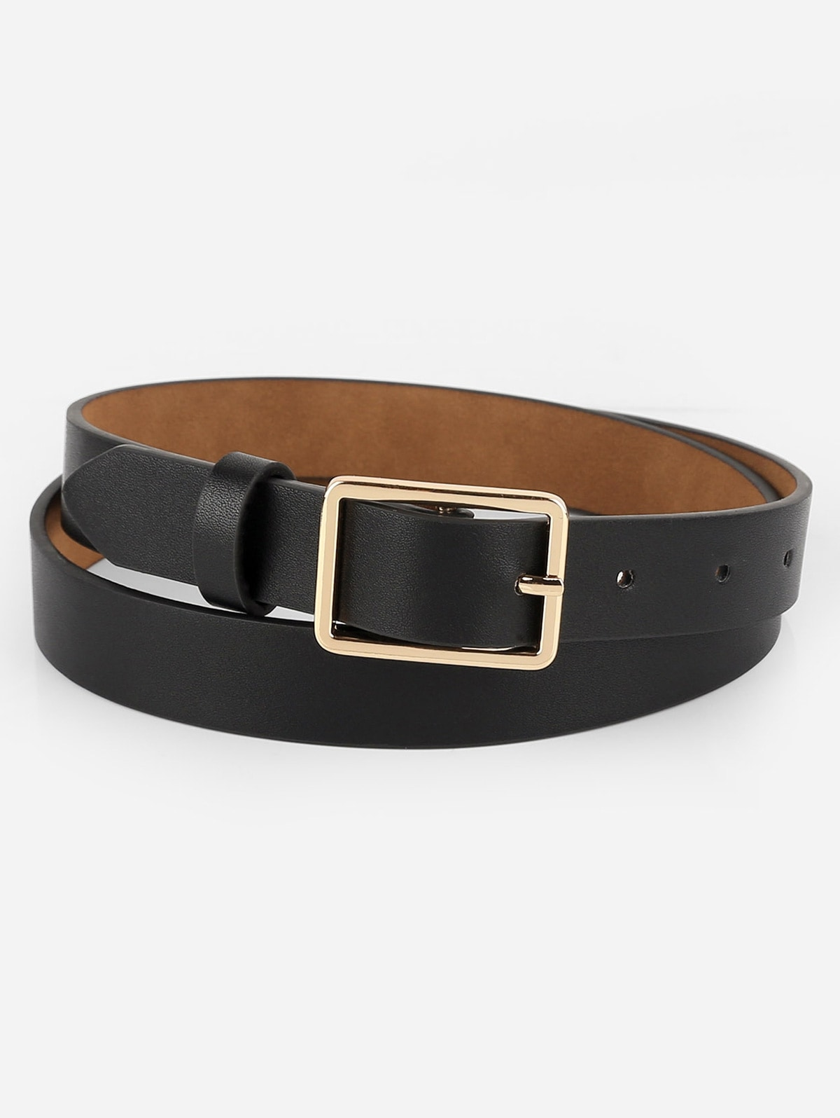 Simple Design Buckle Faux Leather Belt