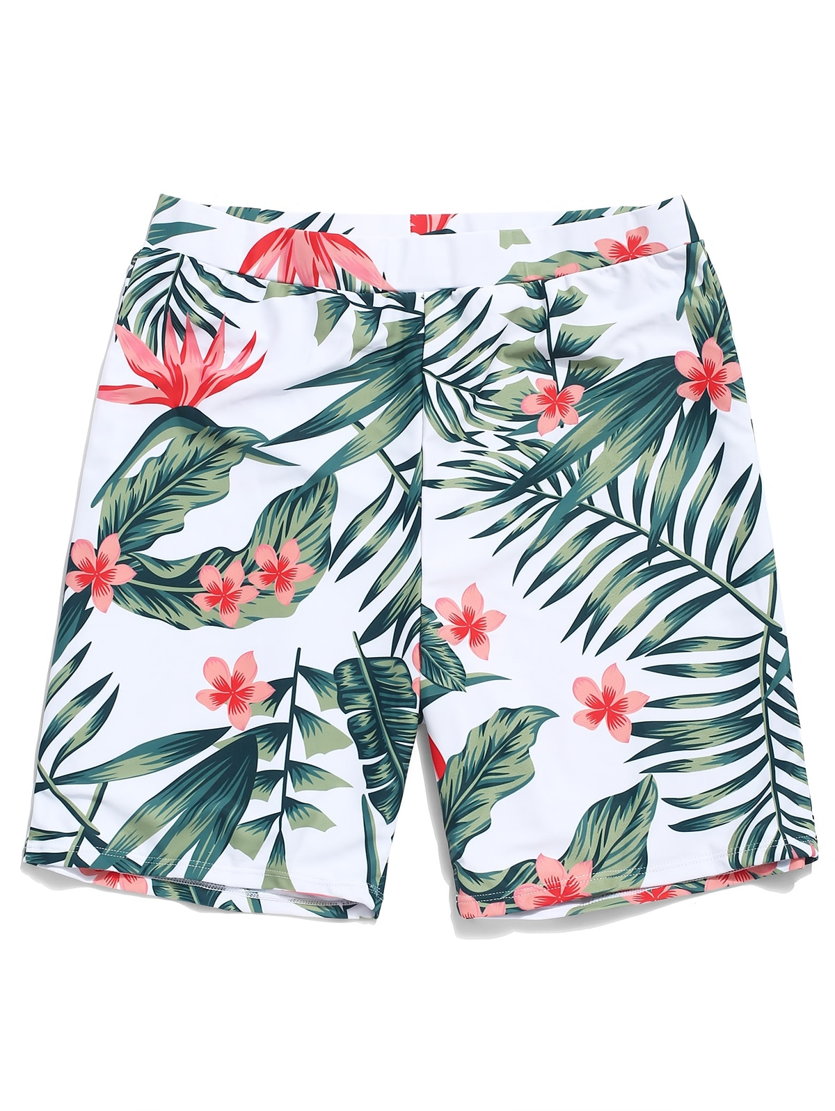 Tropical Leaf Flower Print Beach Shorts