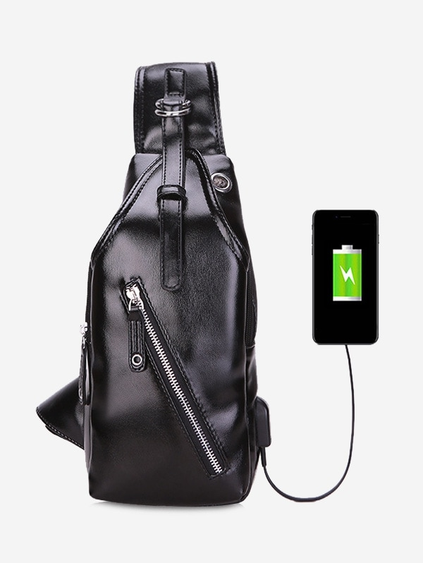 USB Charging Business Solid Crossbody Chest Bag