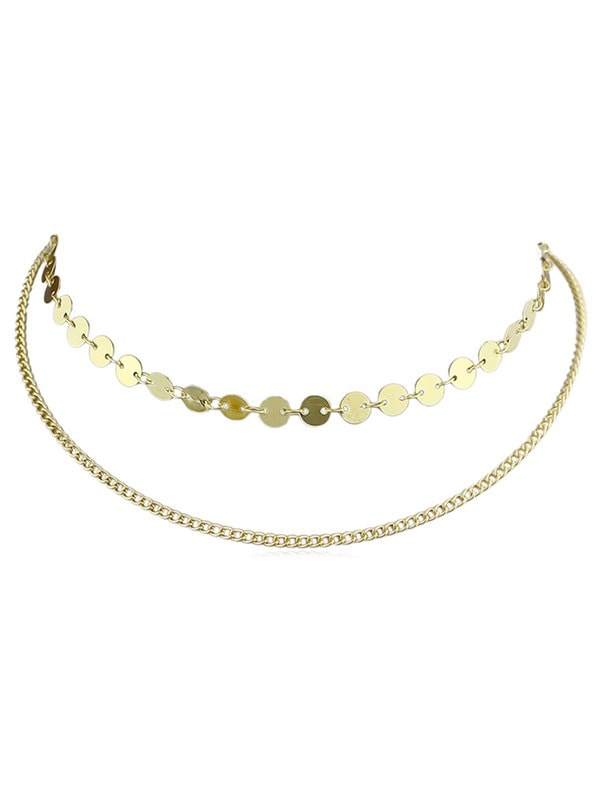 Alloy Layer Chain Disc Necklace