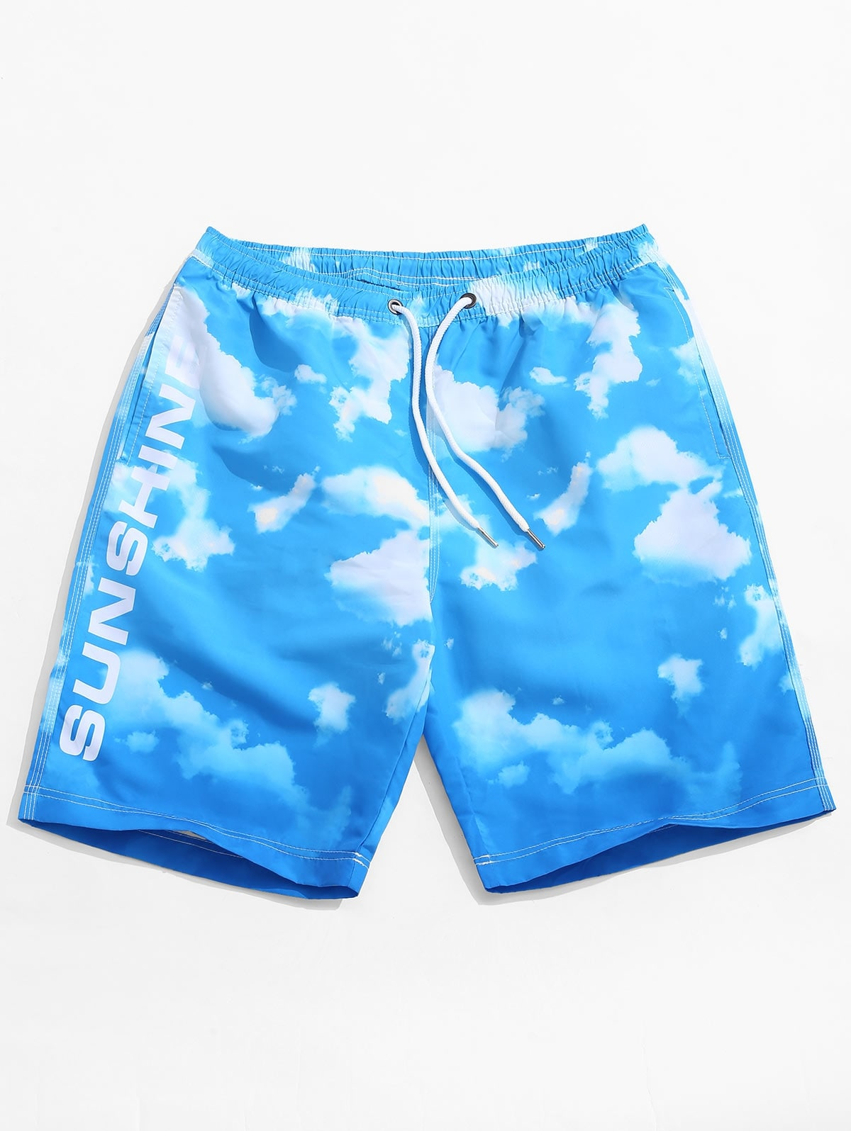Blue Sky Cloud Print Beach Casual Shorts