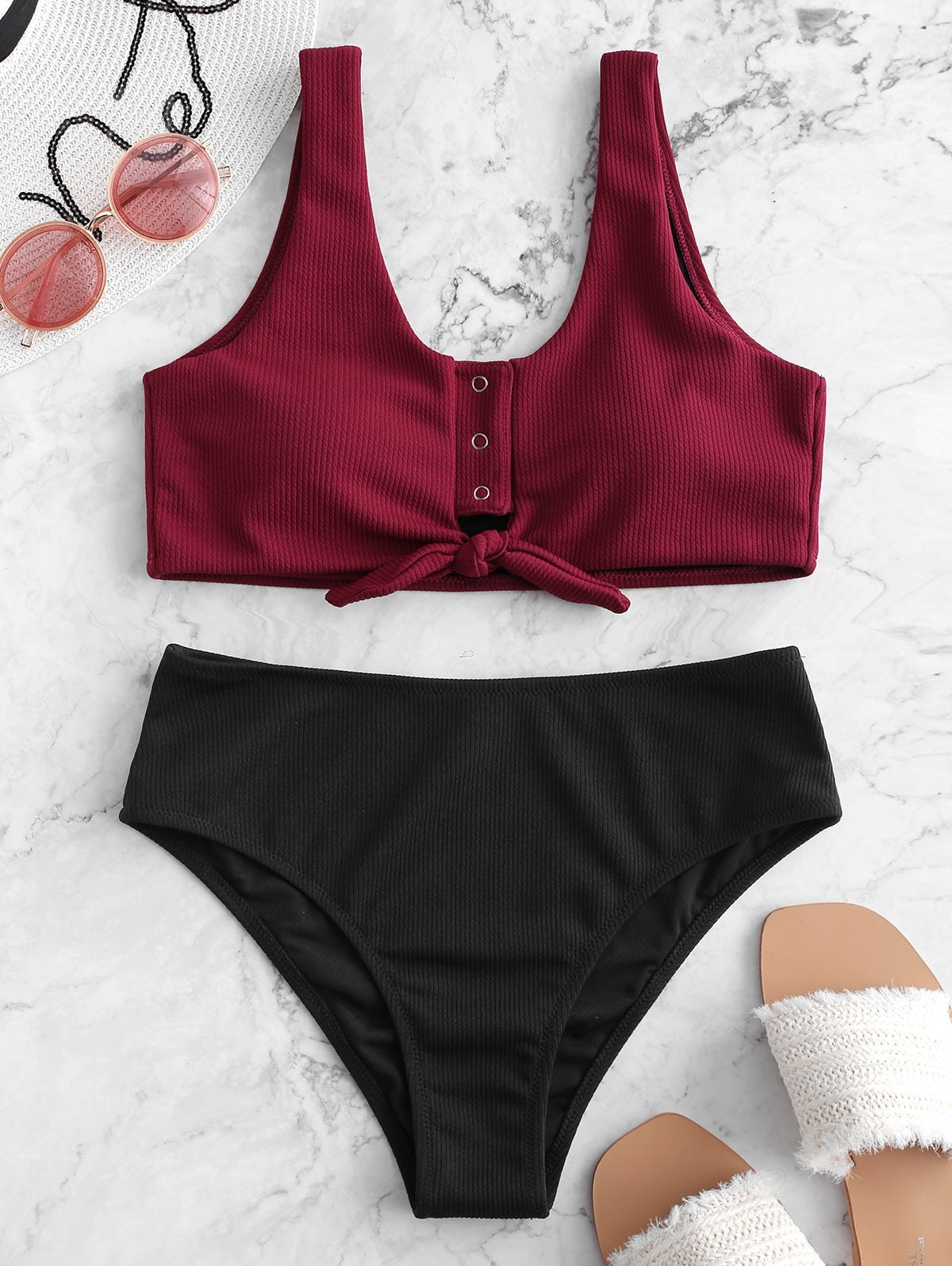 Color Block Snap Button Ribbed Tankini Swimsuit