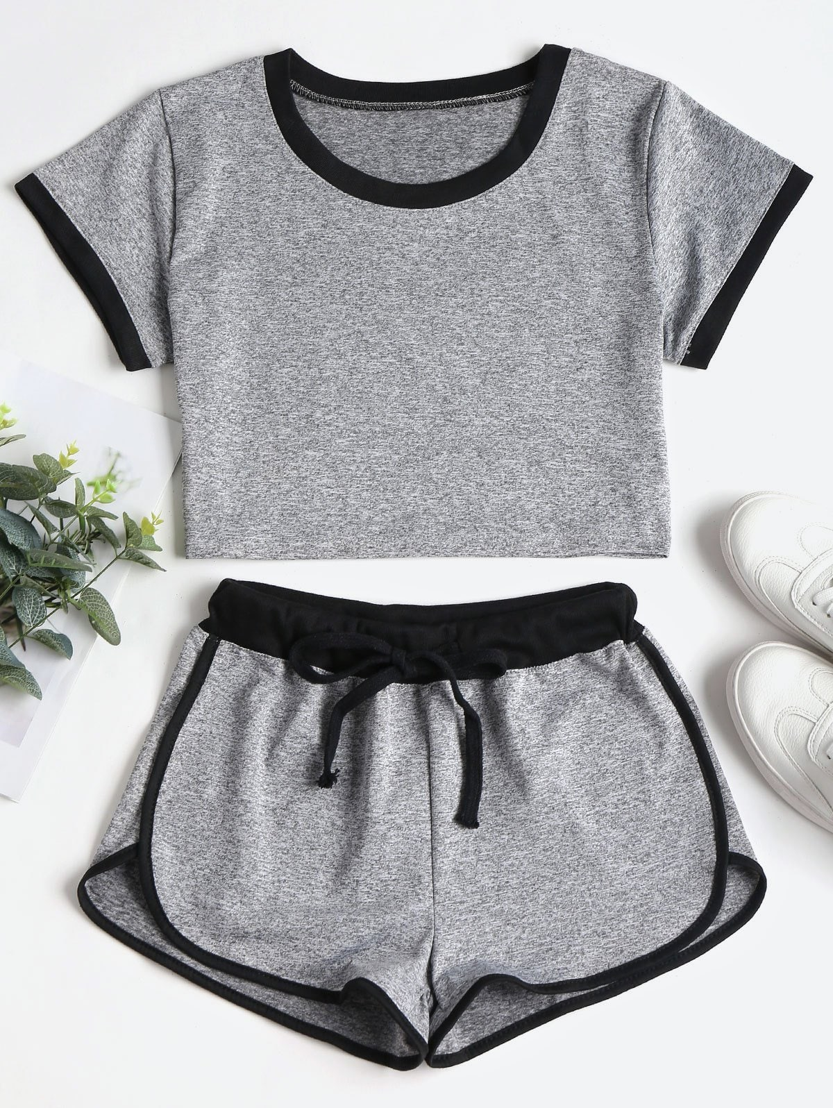 Contrasting Binding Crop Top Shorts Tracksuit