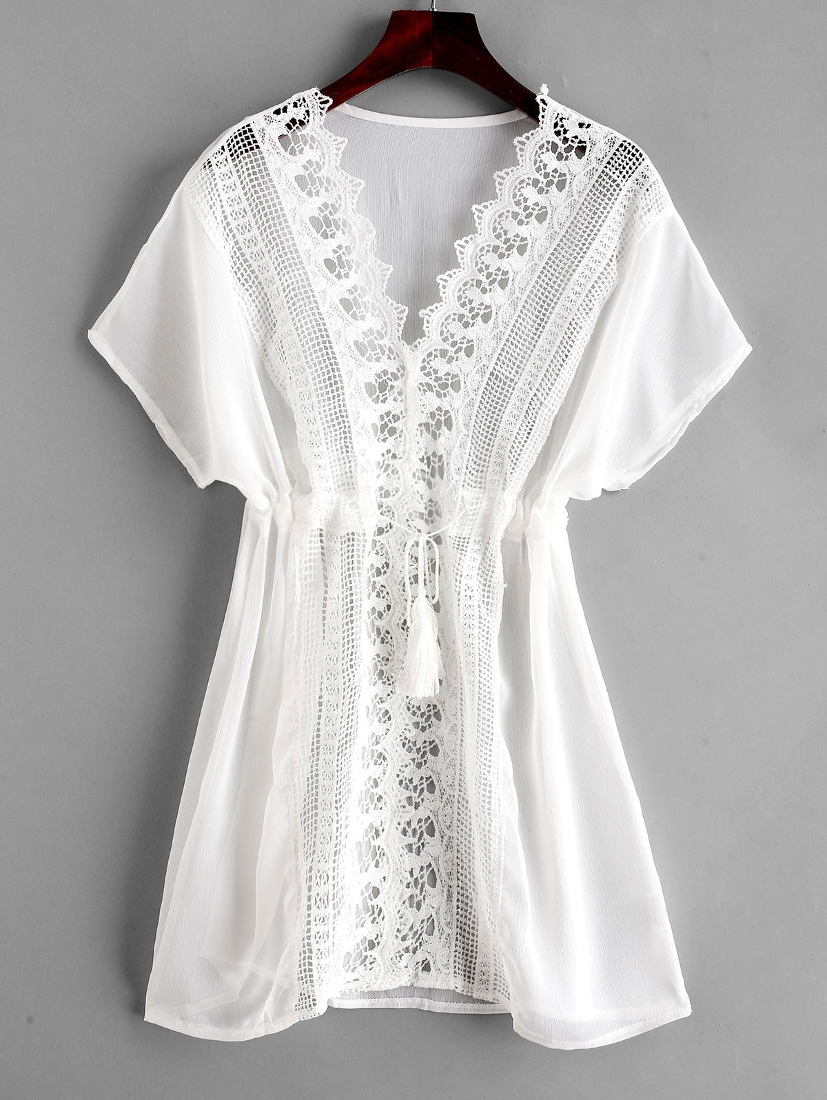Crochet Plunging Batwing Sleeve Cover Up Dress