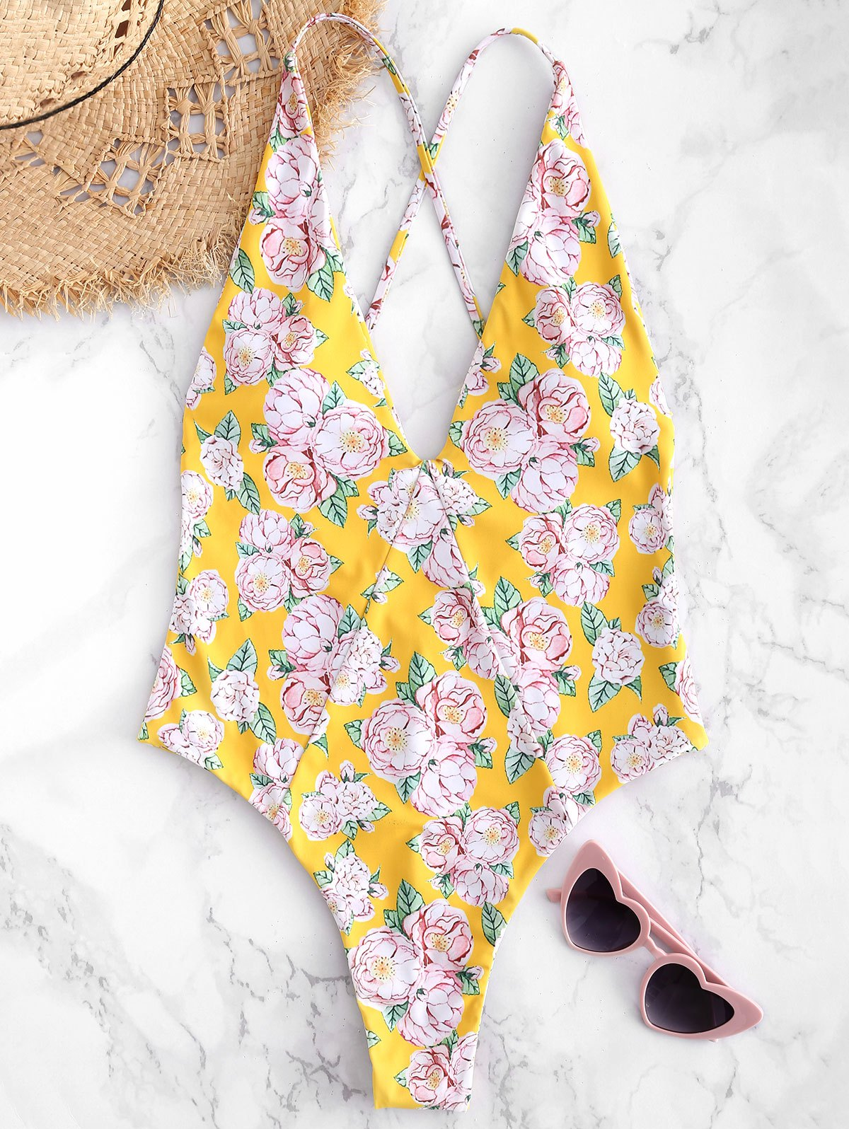 Floral Criss Cross Backless Swimsuit