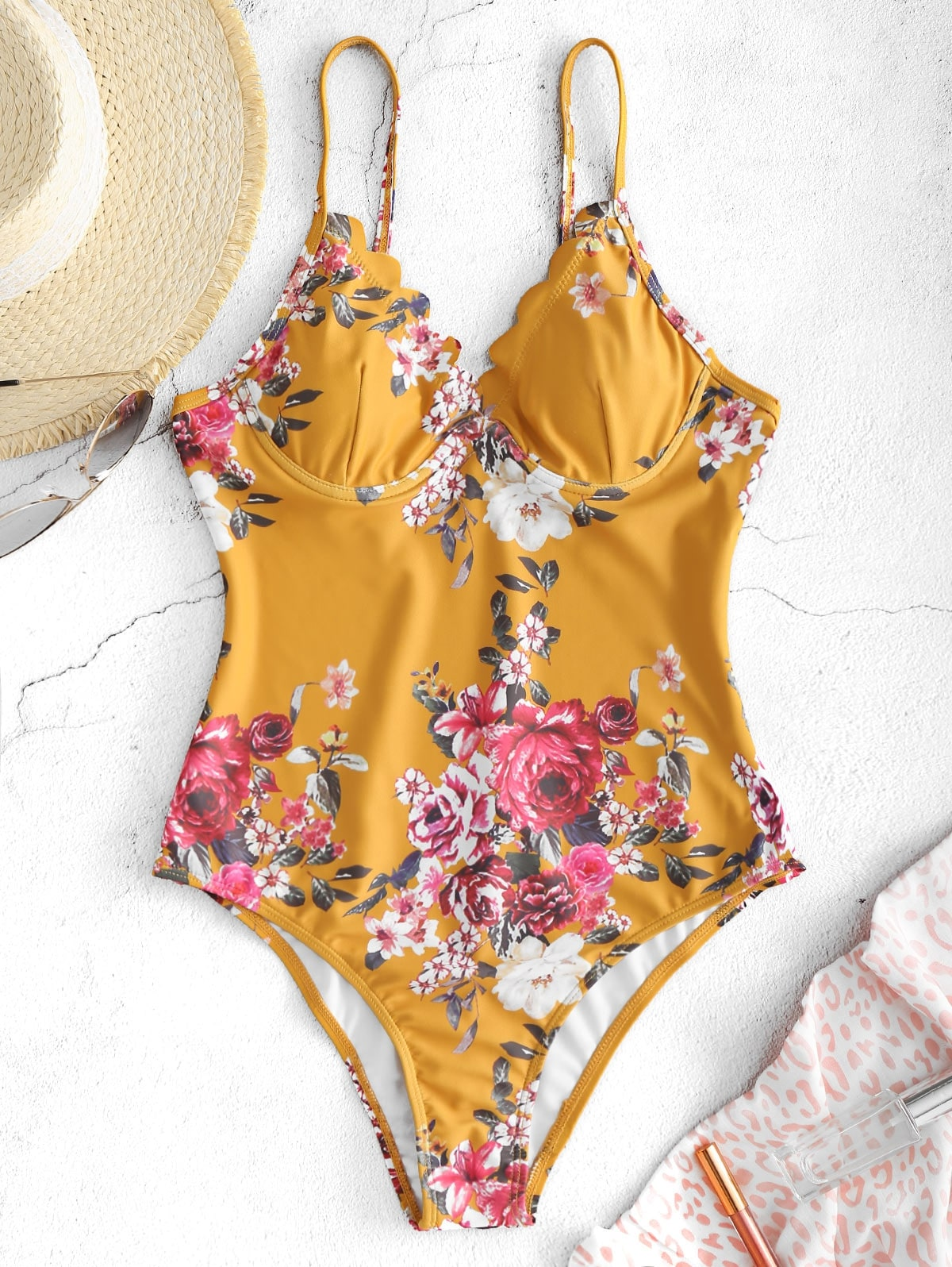 Floral Scalloped Underwire Swimsuit