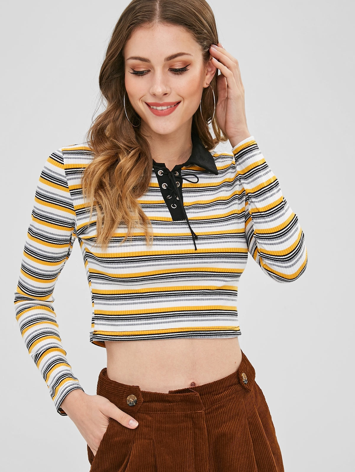 Lace Up Striped Crop Tee