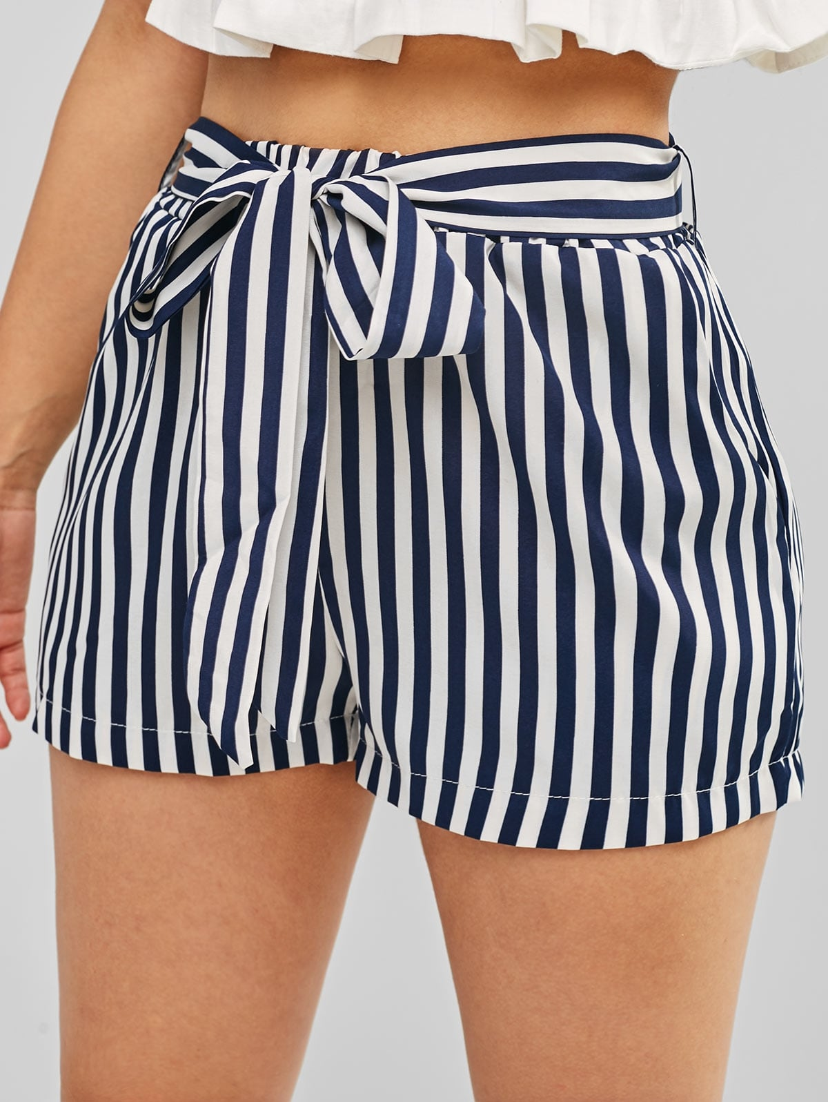 Striped High Waisted Belted Shorts