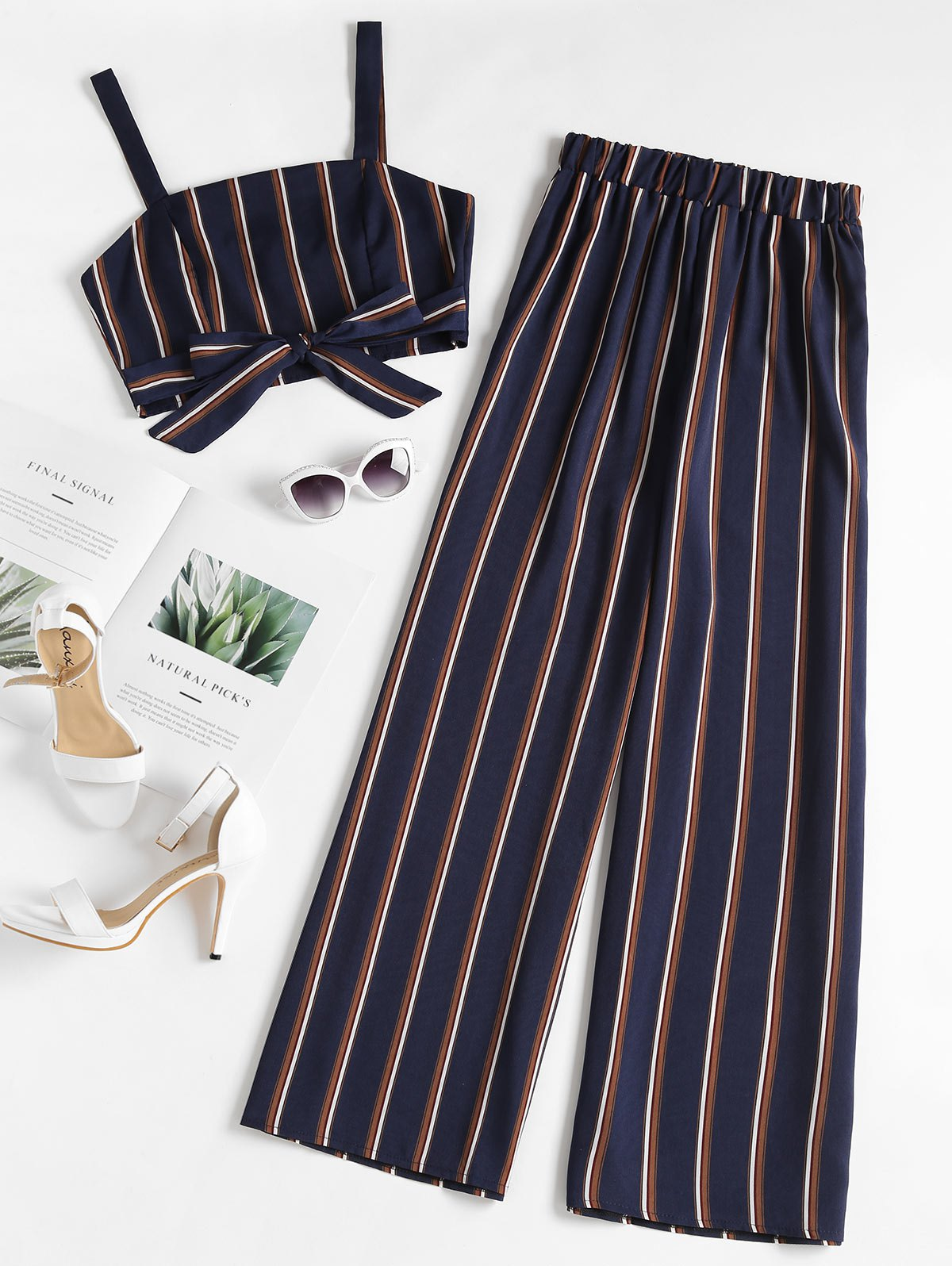 Striped Zip Top and Wide Leg Pants