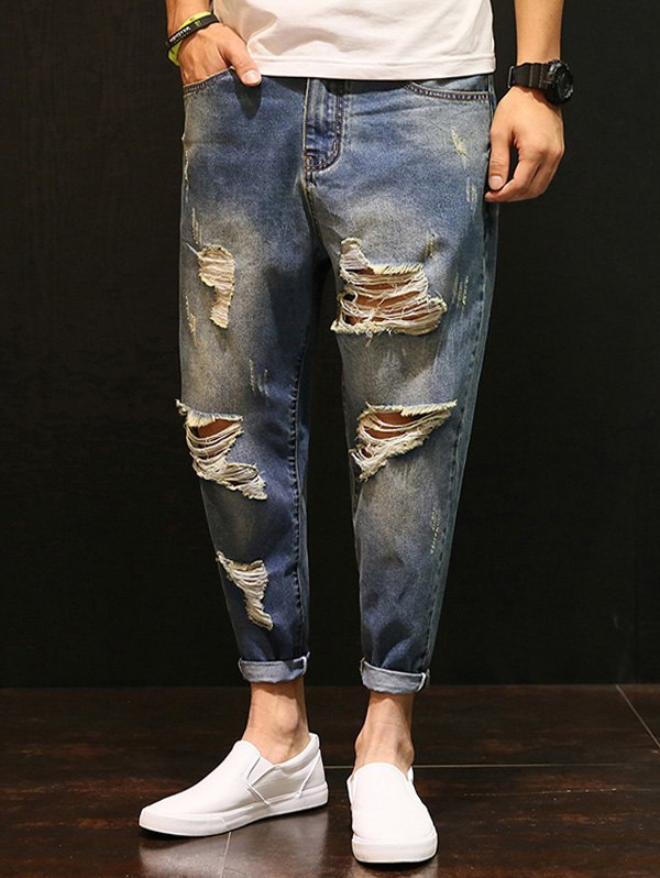 Zipper Fly Distressed Low-Slung Crotch Nine Minutes of Jeans
