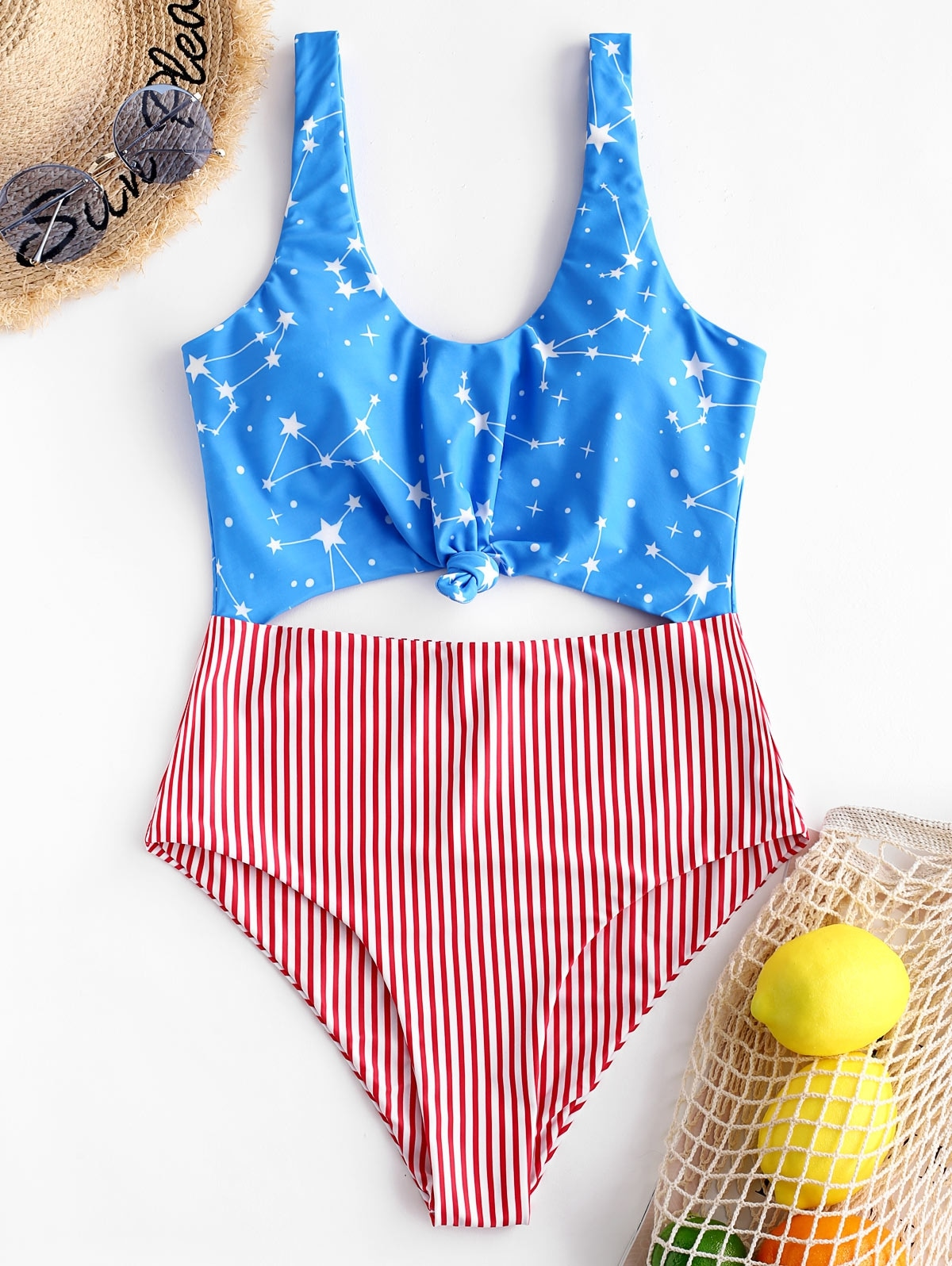 American Flag Knotted Monokini Swimsuit