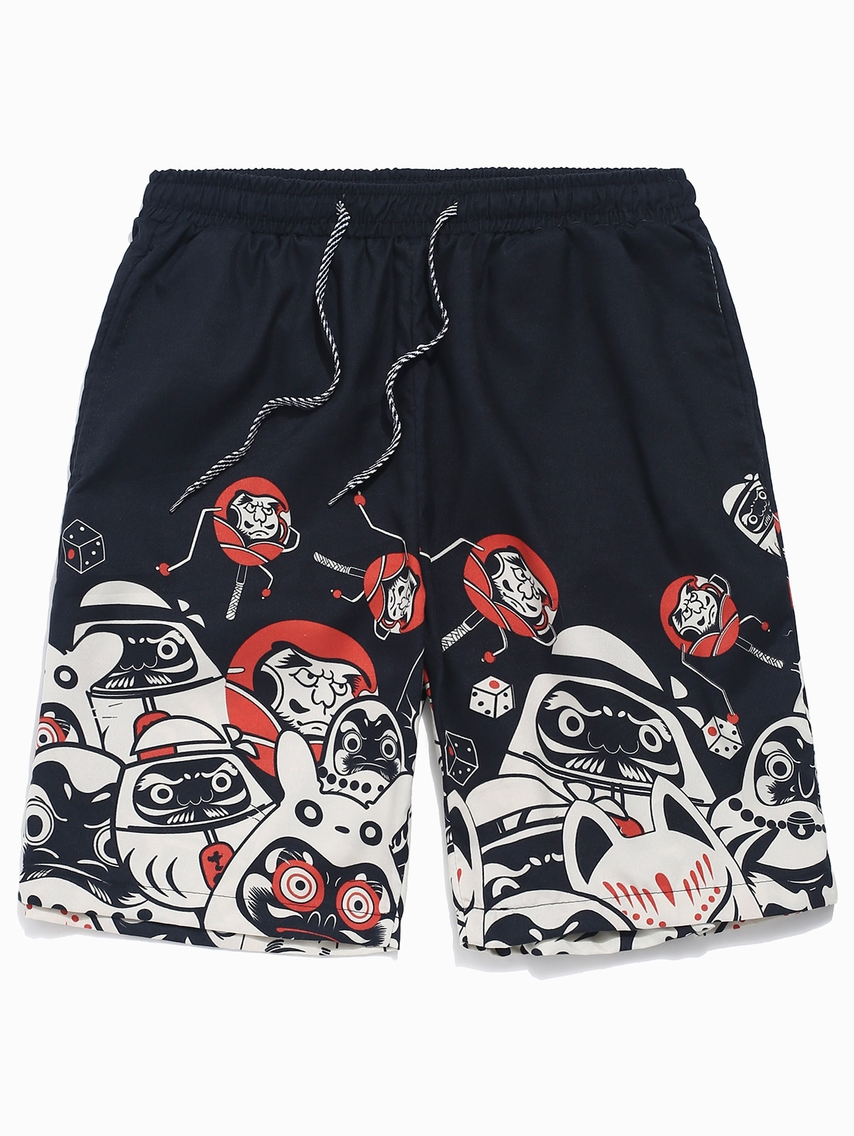 Cartoon Print Drawstring Beach Shorts