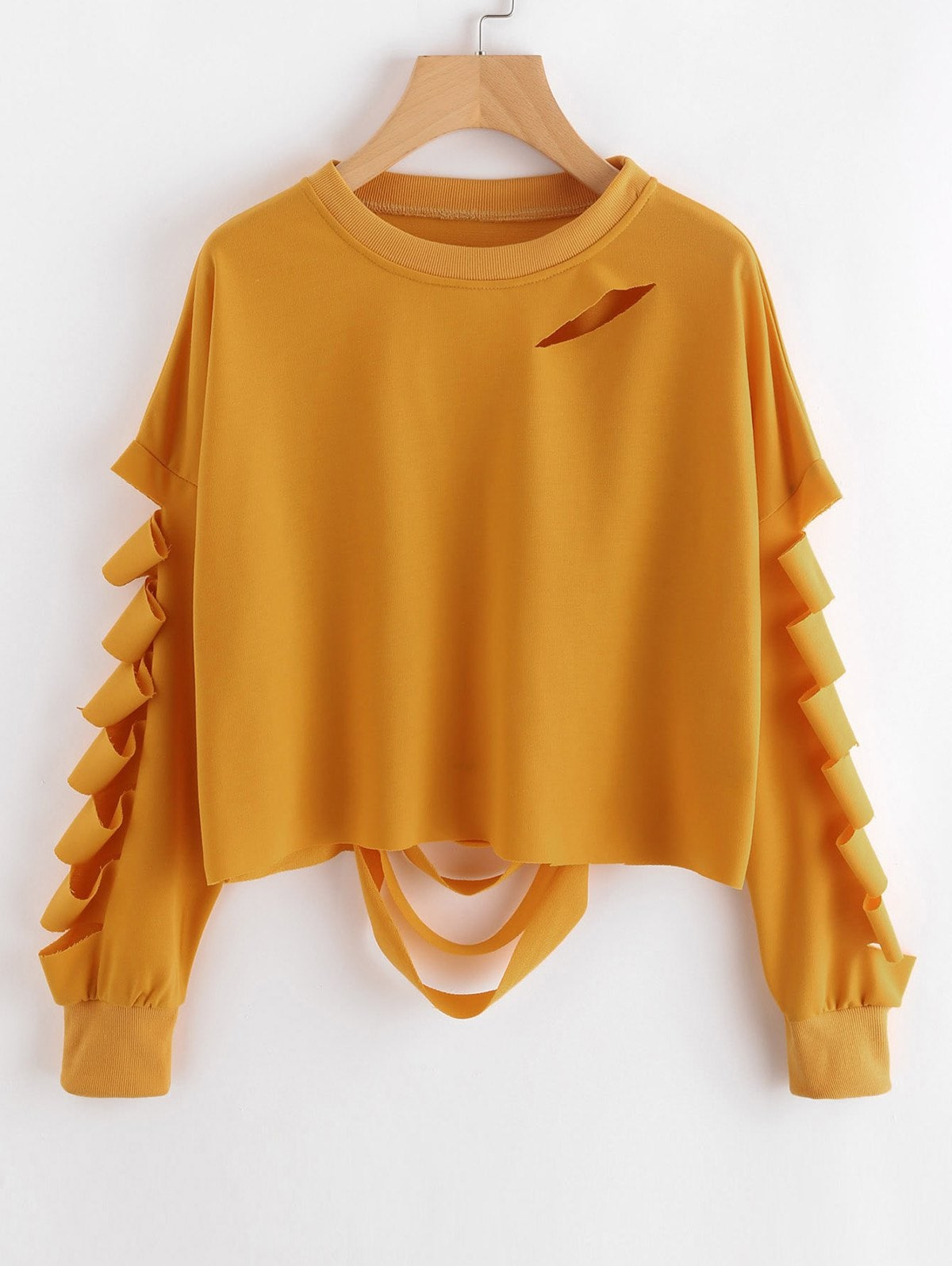 Casual Cutout Ripped Sweatshirt