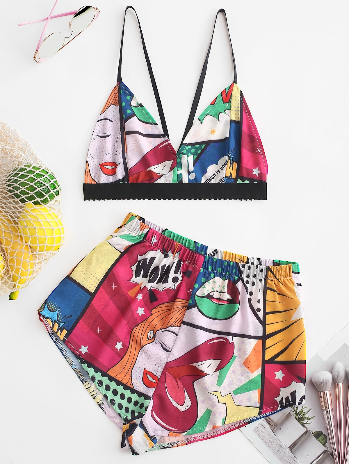 Color Block Printed Cami Crop Top and Shorts Set