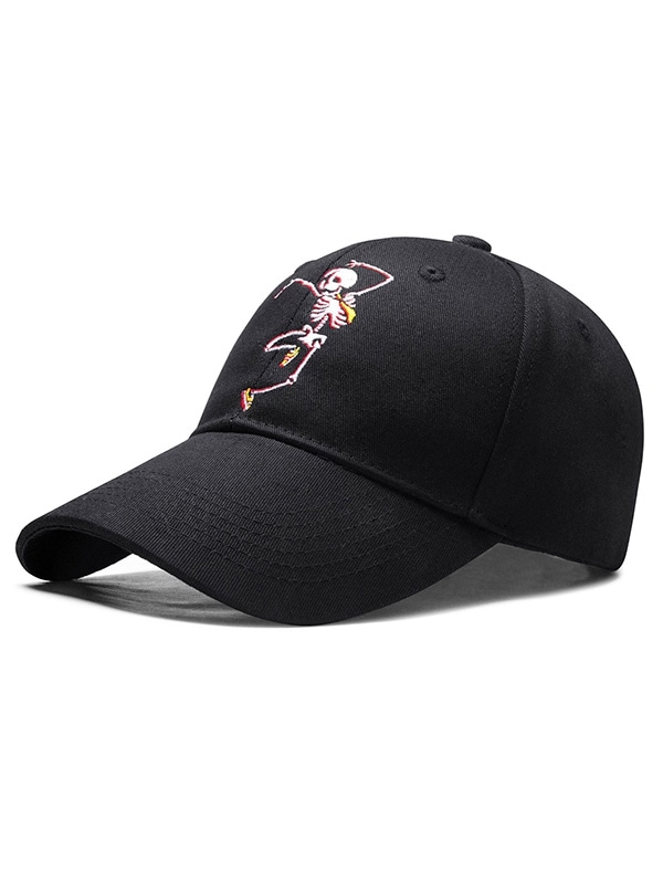 Embroidered Skeleton Man Baseball Cap