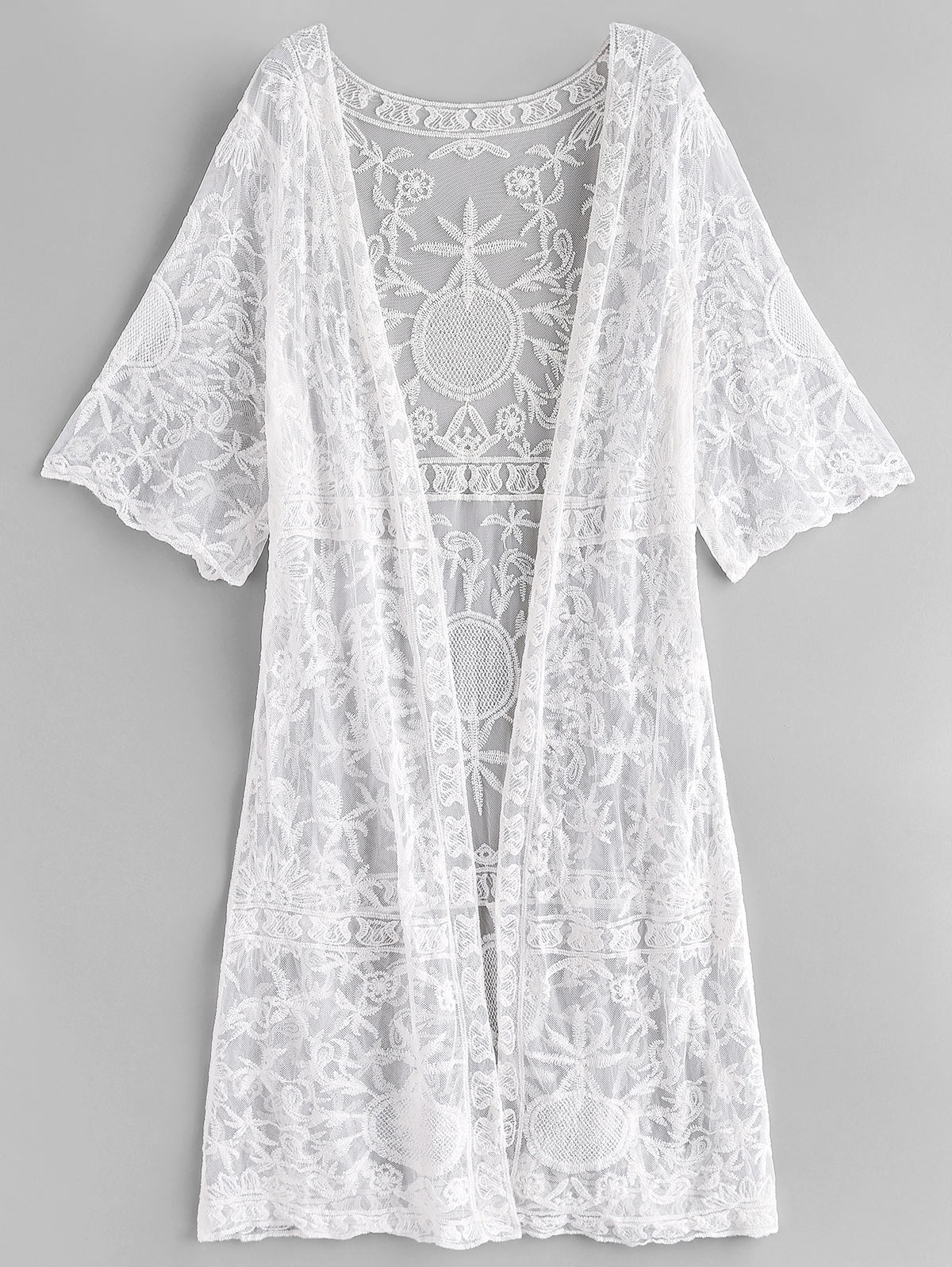 Embroidery Mesh See Thru Cover Up