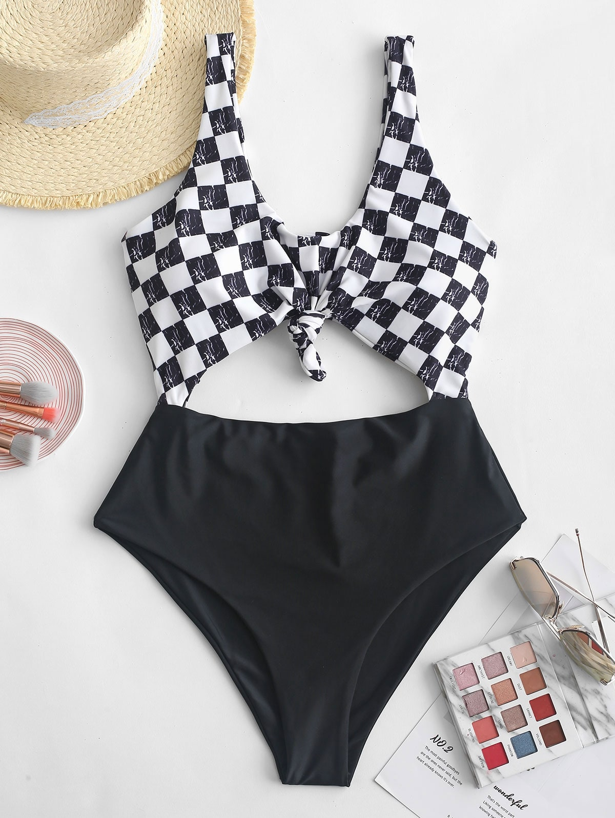 Knot Checkered Cutout Swimsuit