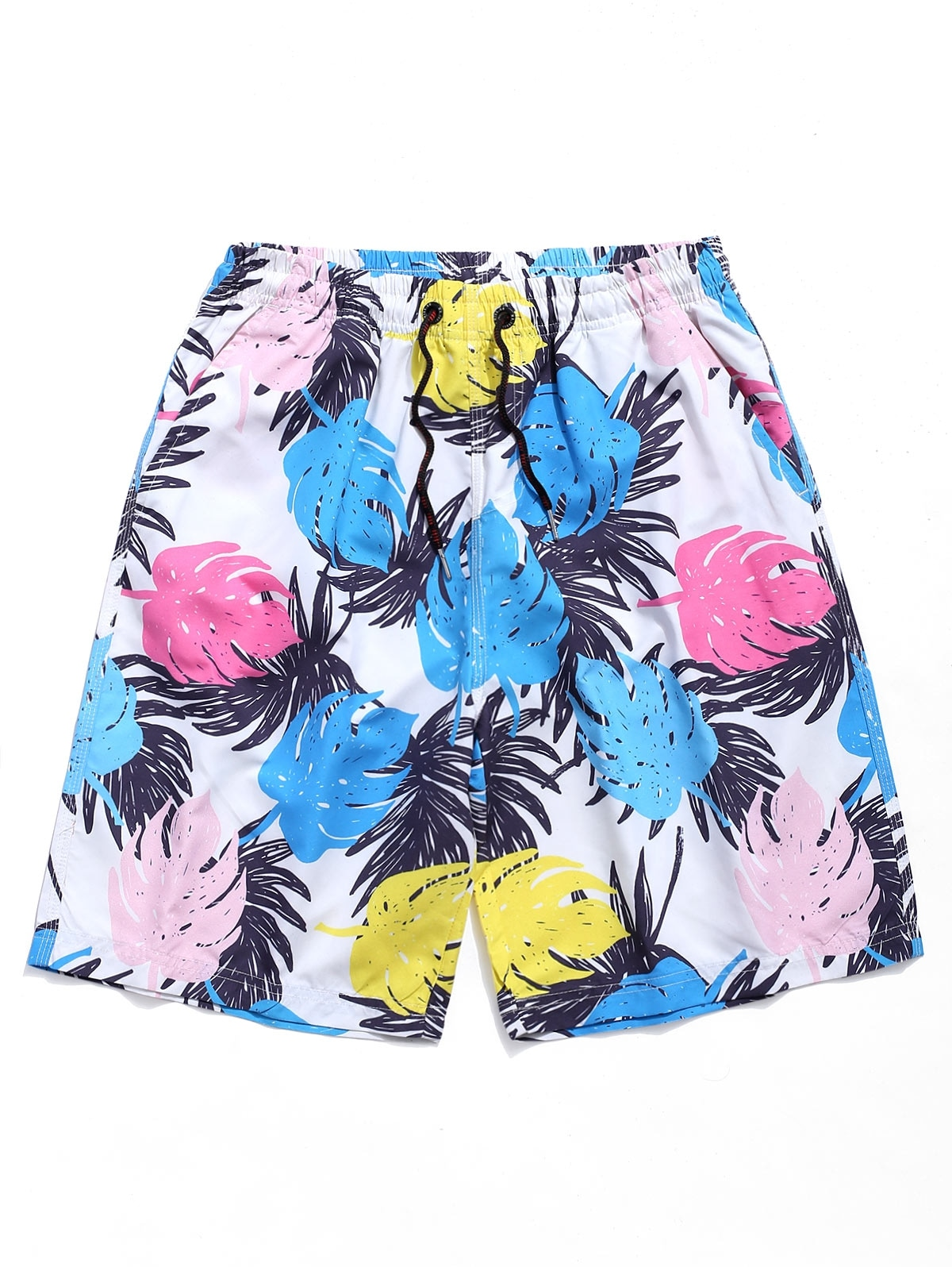 Leaves Print Drawstring Beach Shorts