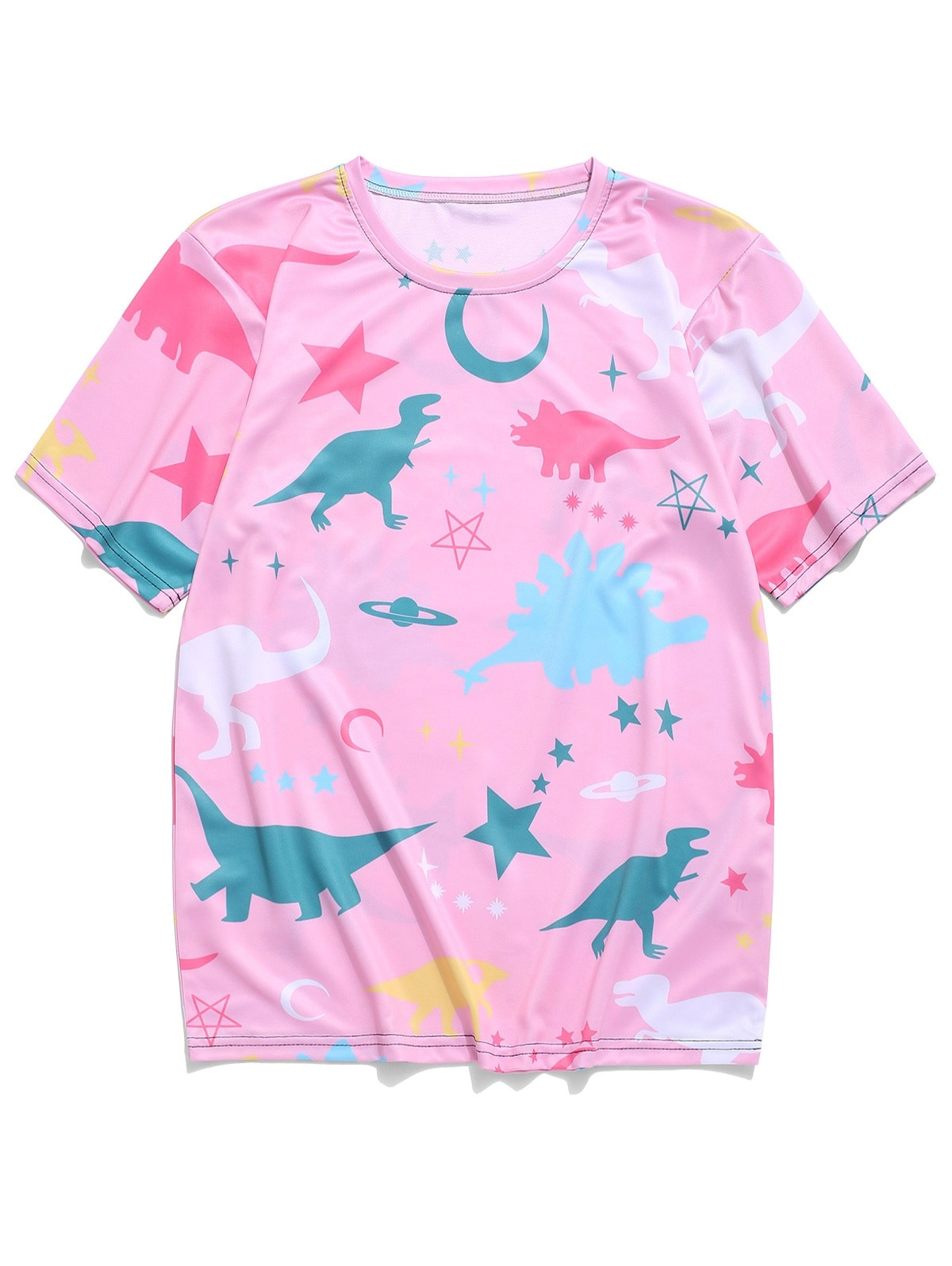 Moon Star Planet Dinosaur Print T-shirt