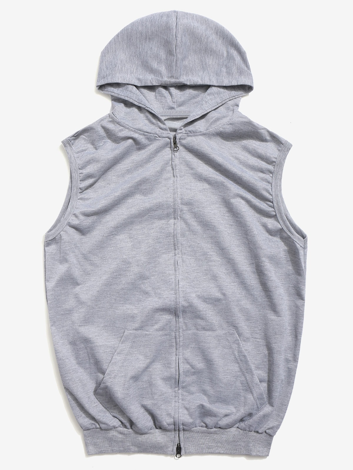 Solid Zipper Hooded Vest Jacket