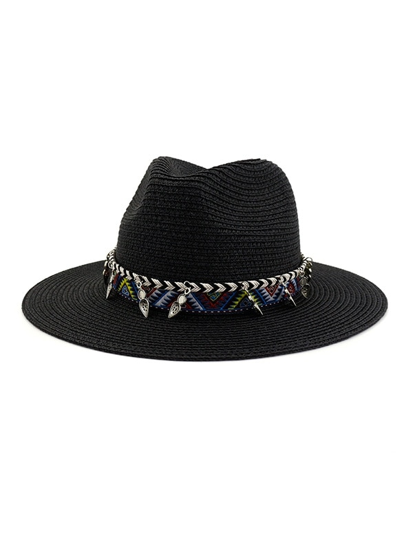 Straw Beach Style Outdoors Strap Decorated Hat