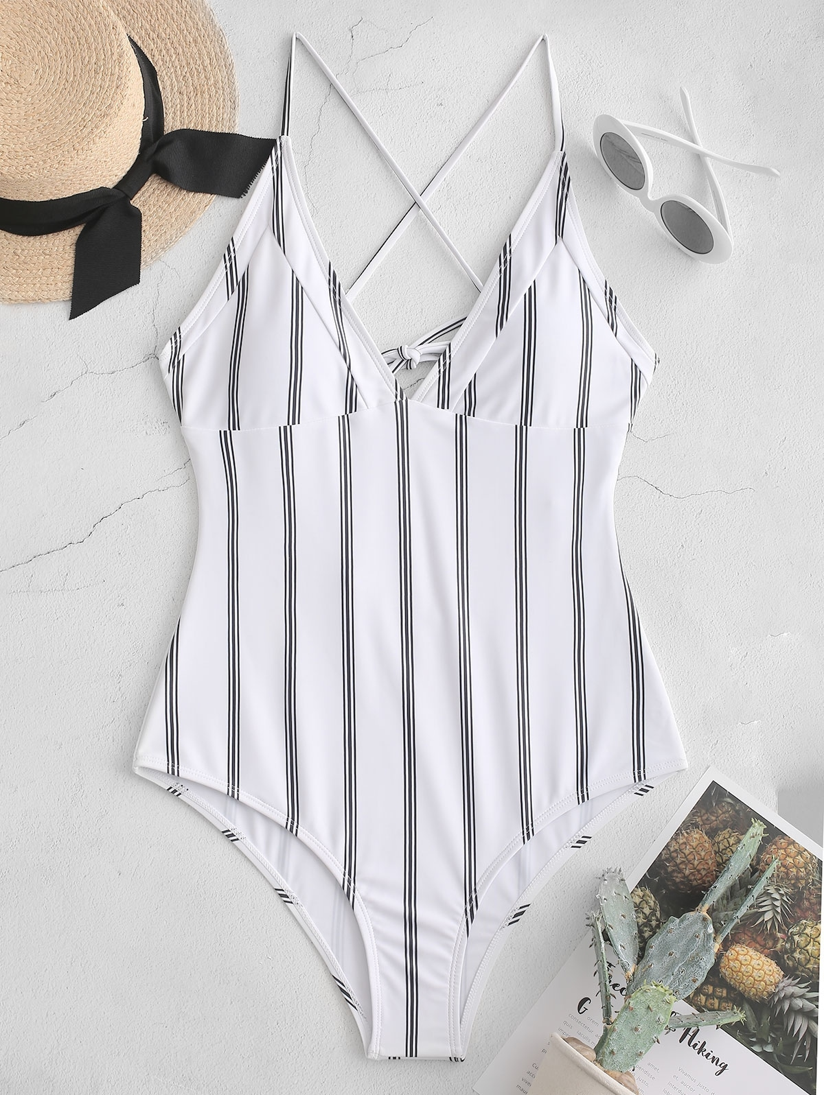 Striped Criss Cross Cami Swimsuit