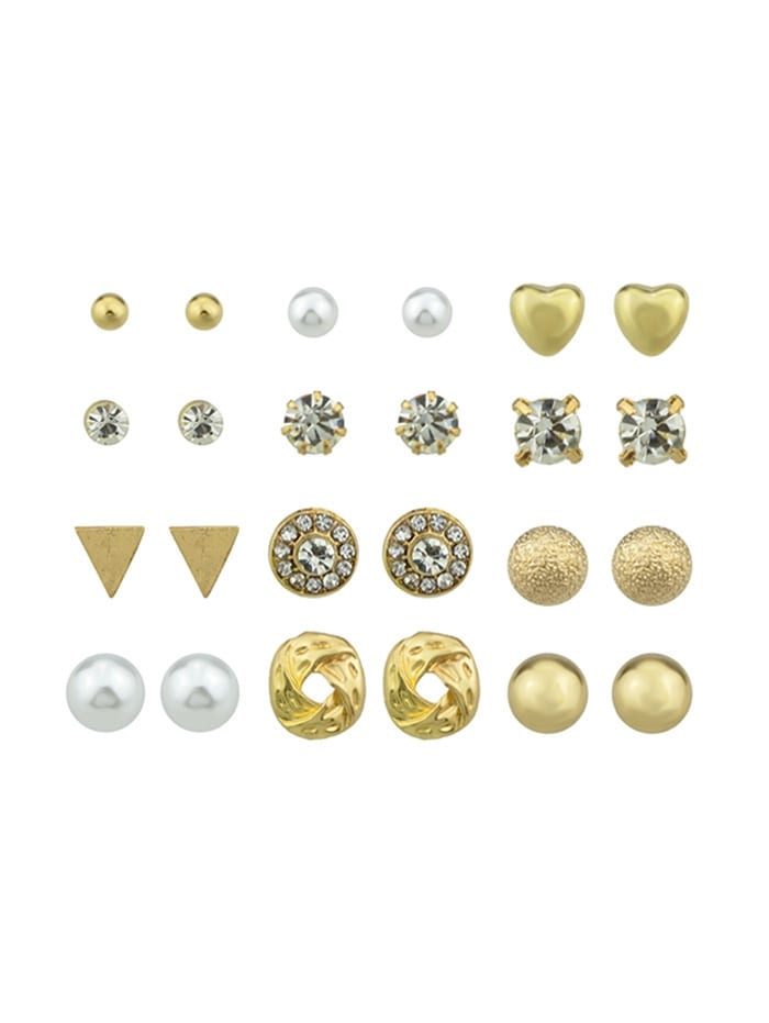 12Pairs Rhinestone Button Earrings Set