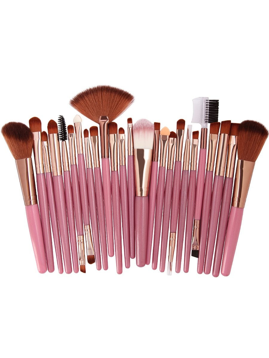 25Pcs Synthetic Fiber Hair Makeup Brush Collection