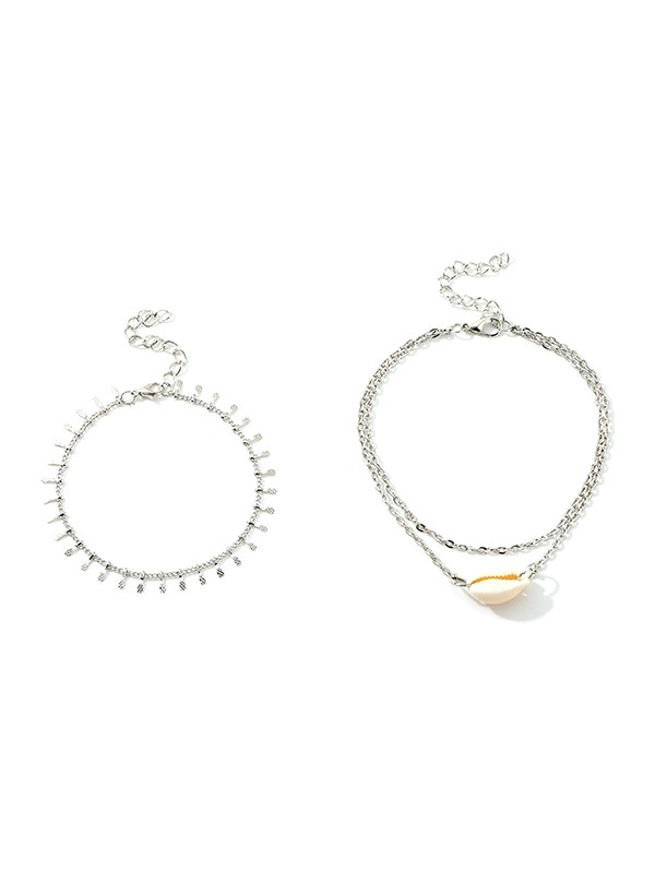 2Pcs Shell Layers Beach Anklet Set