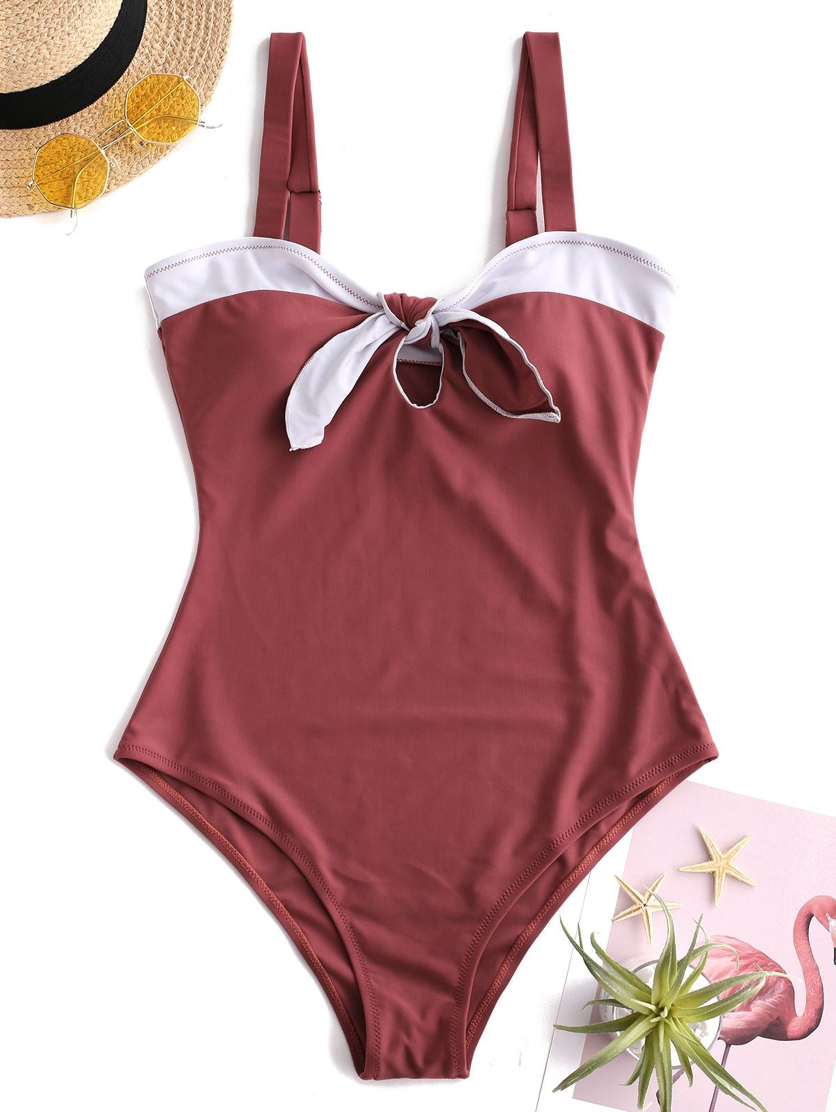 Color Block Tied Keyhole Swimsuit