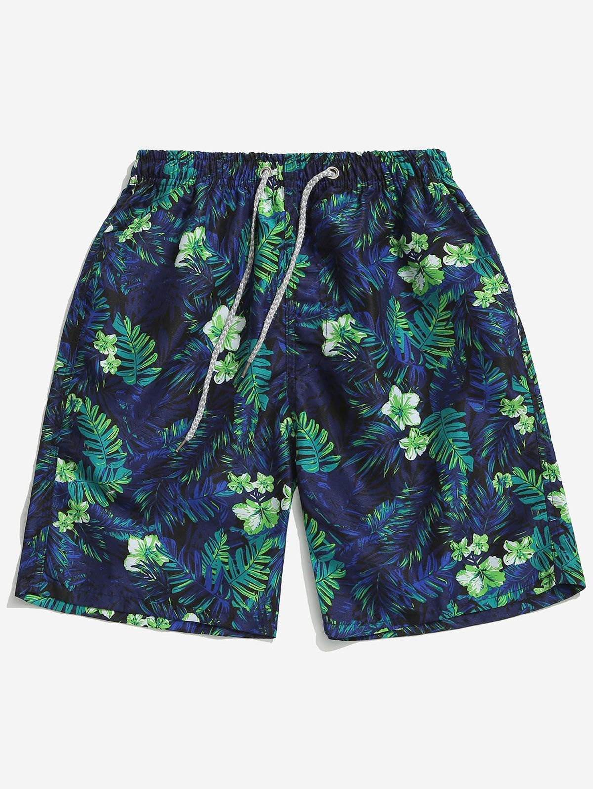 Floral Plant Leaves Print Beach Shorts