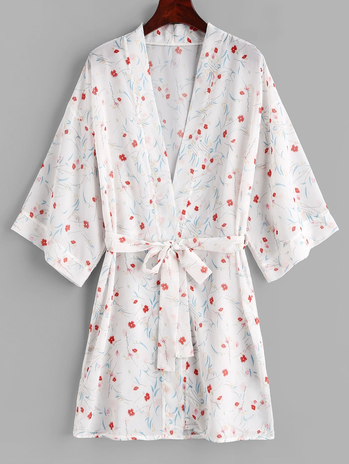 Flower Belted Kimono Cover Up
