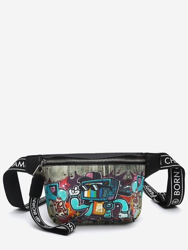 Graffiti Pattern PU Leather Crossbody Bag