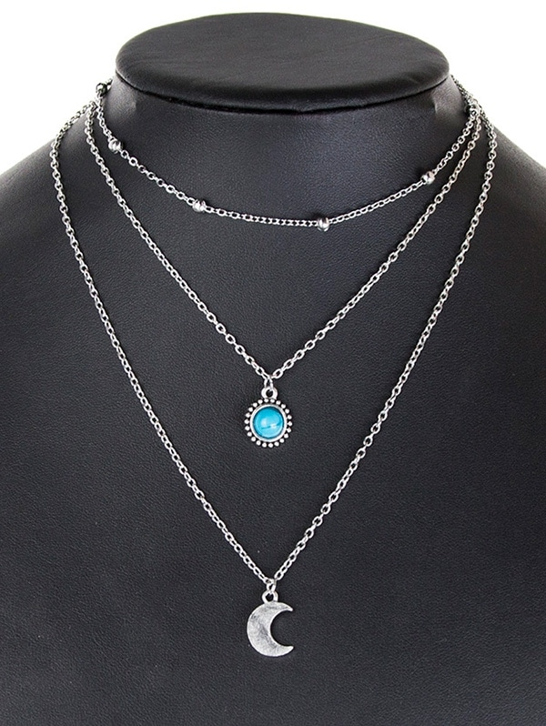 Layered Moon Faux Turquoise Necklace
