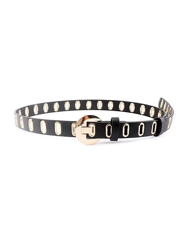 Punk Oval Holes Buckle Belt