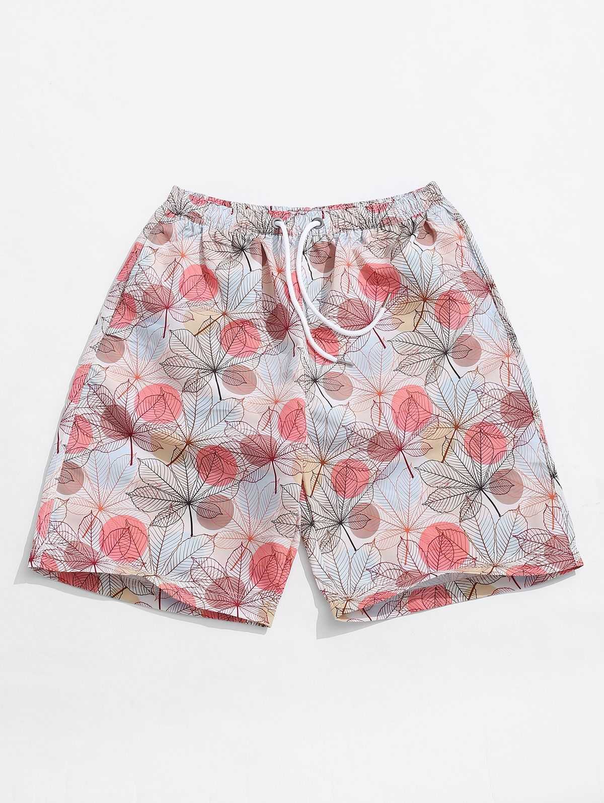 Round Shape Leaf Print Casual Shorts
