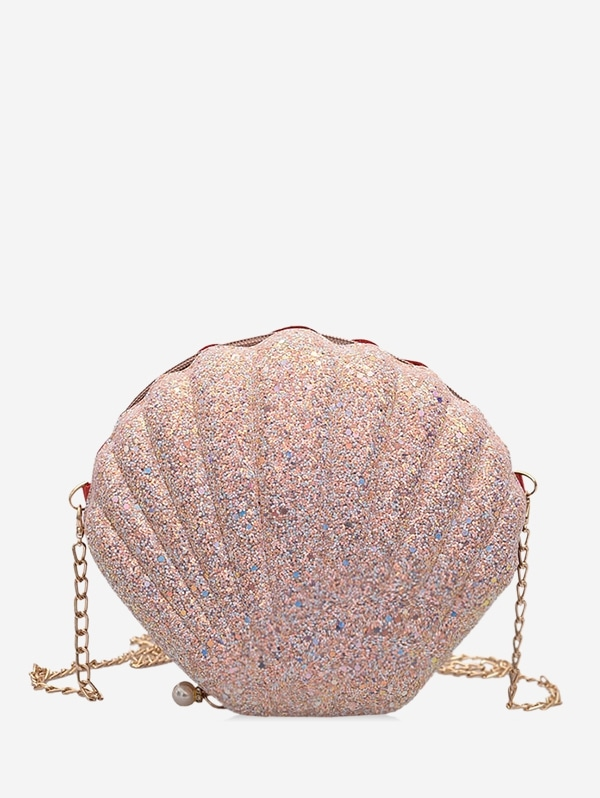 Scallop Shape Hard Zipper Chain Shoulder Bag