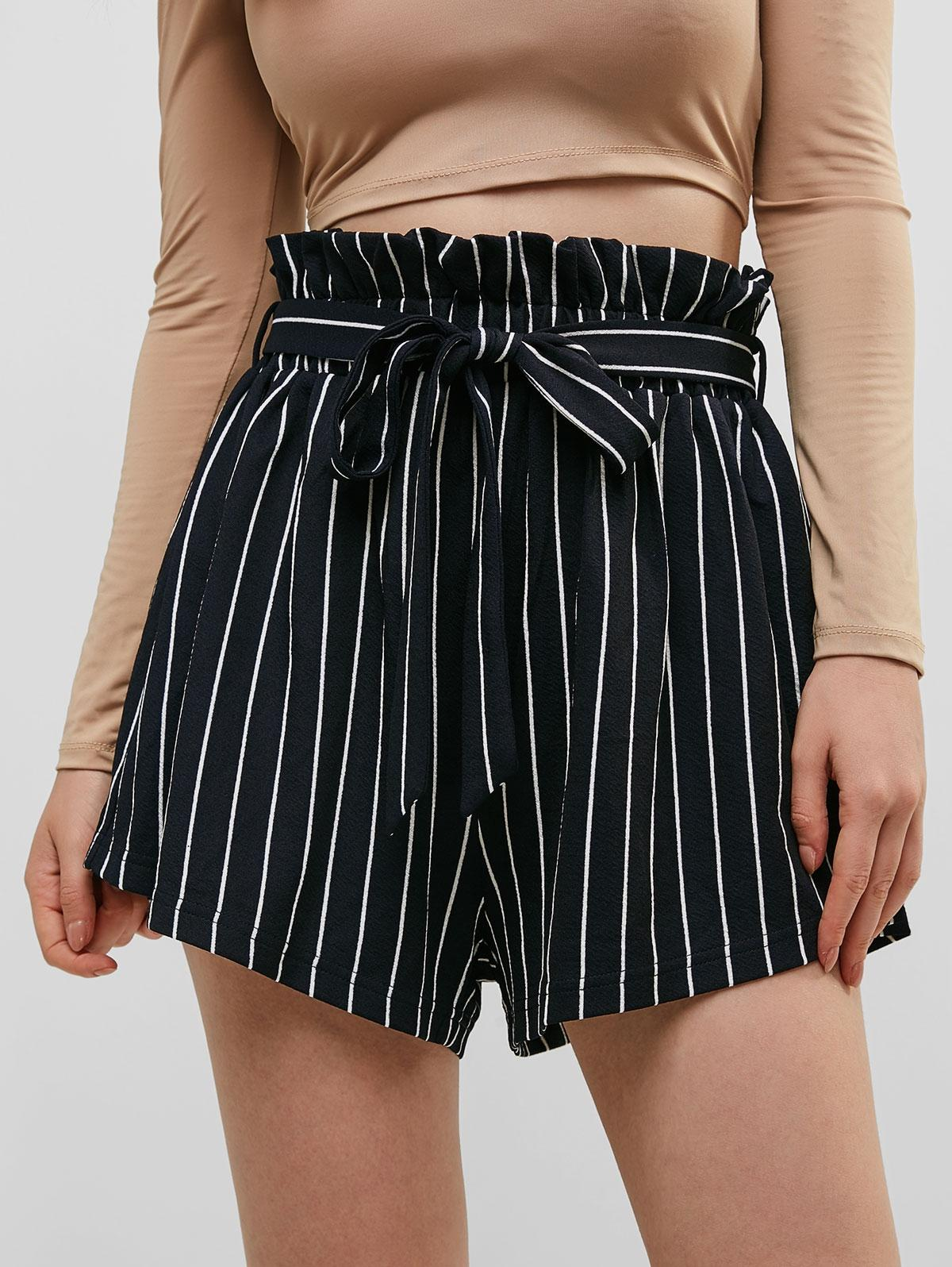 Striped Belted Loose Paperbag Shorts